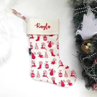 Christmas Stocking - Deer and Dove on Cream