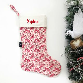 Christmas Stocking - Red Dove on Cream