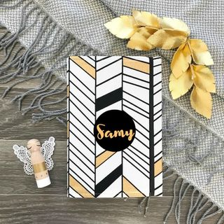 Gold and Black Herringbone (A5)