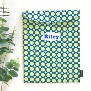 Lime Green Dots on Blue