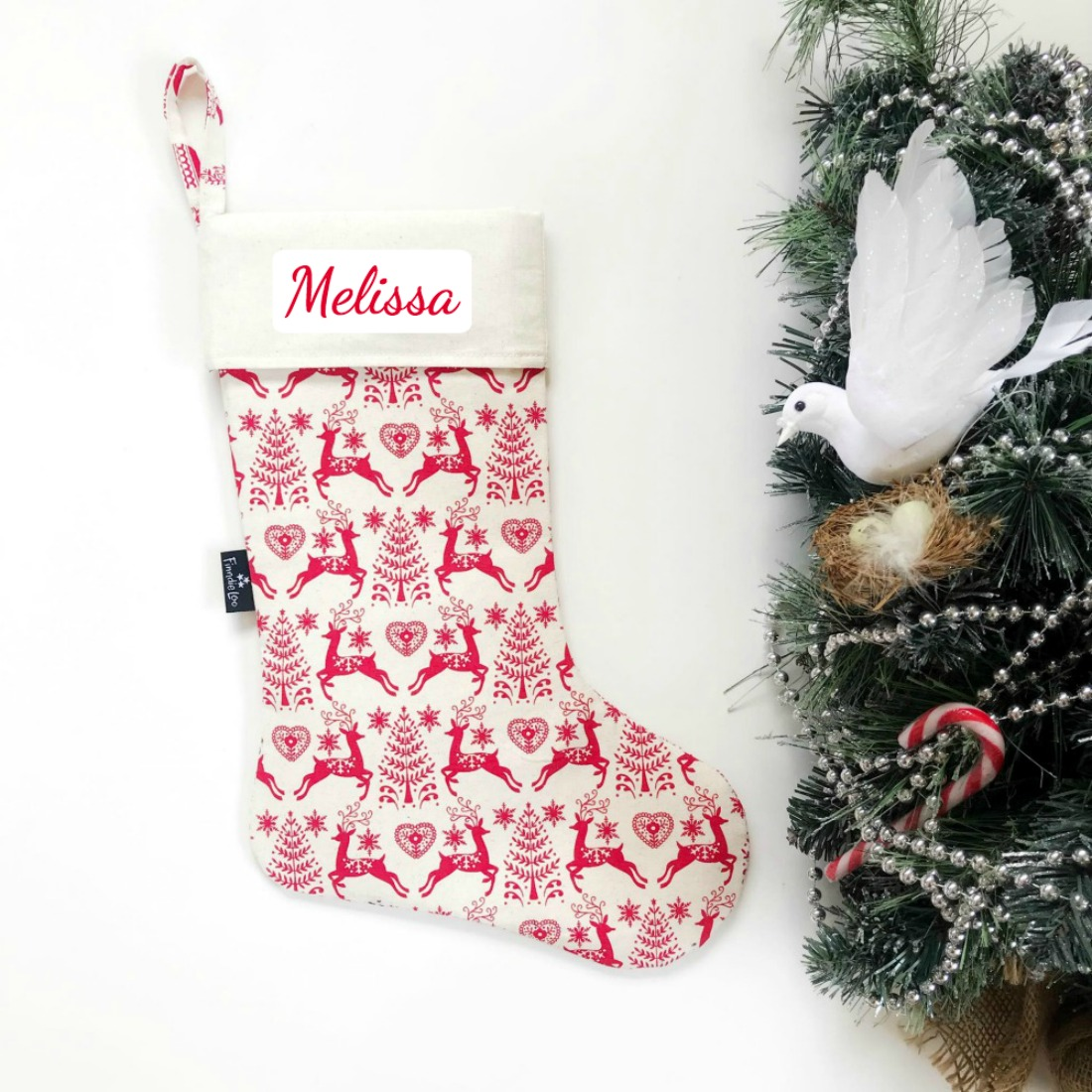 Christmas Stocking - Snowflake Deer on Cream
