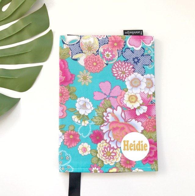 Plunket Book Cover Pattern ~ Floral on aqua plunket book cover finndieloo